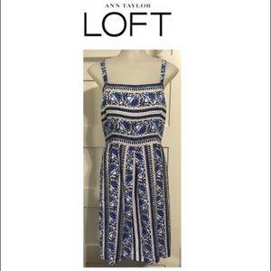 LOFT, 8 NWT blue & white dress